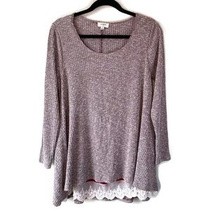 Umgee Ribbed Mauve Long Sleeve Tunic Lace Hem M